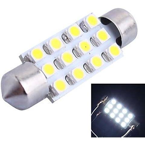 FULLModerna lampadina 39mm 3W 150LM 6000K 12x3528 SMD bianco LED di lettura / Targa / Porta DC12V, 1Pcs