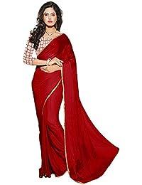 AG Lifestyle Women's Chiffon Saree With Blouse Piece (Vfv309_Maroon)