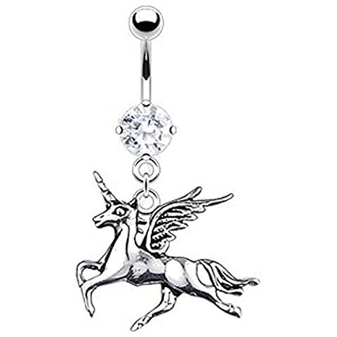 1 x Clear Crystal Flying Mystical Galloping Unicorn Horse Belly Bar Piercing Thickness : 1.6mm Length : 10mm Material : Surgical
