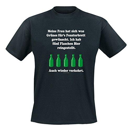 Meine Frau hat sich was Grünes fürs Fensterbrett gewünscht. Ich habe Bier reingestellt. Auch wieder verkehrt. - Fun - T-Shirt Herren Schwarz