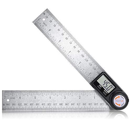 Winkelmesser Tacklife Winkel Lineal aus Edelstahl, Digital Anzeige, Längenmessung 400mm/ 14 Zoll, Messbereich: 000.0°~999.9°, Relative und Absolute Winkelmessung, HOLD Funktion
