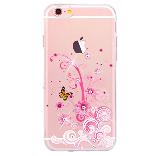 iPhone 7 Hülle,iPhone 7 Silikon Schutz Handy Hülle Kratzfeste Tasche Handyhülle [Mit 1 X Frei Stylus Stift], SainCat iPhone 7 Gel Case Weiche Bling Diamant Schutzhülle Silikon Crystal Clear Case Durch Blumen-Rebe