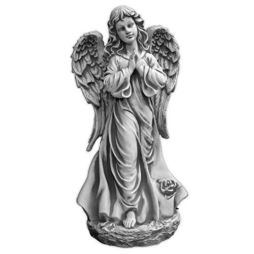 gartendekoparadies.de Große Steinfigur Stein Engel auf Fels Steinguss frostfest Grabdeko