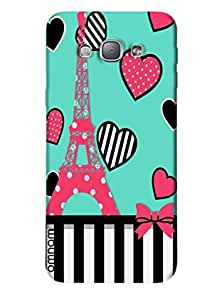 Omnam Eifil Tower Painted On Heart Theme With Black White Effect Designer Back Cover Case for Samsung Galaxy A8