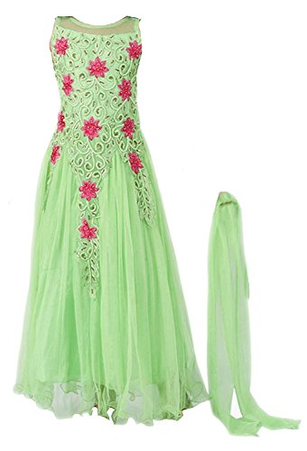 Mahavir Fashion Girls Soft Net Green Embroidered Long Gown For Parties and Wedding Traditional Wear. (5-12 Yrs)