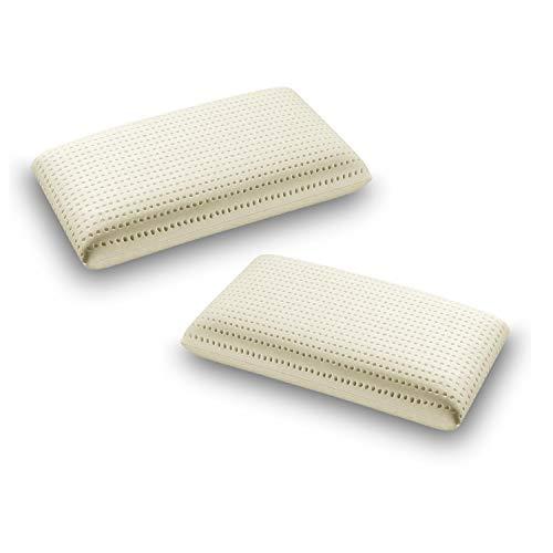 Sleepys coppia cuscini in lattice naturale, 74x42 alto 12 cm saponetta forato con fodera in jersey 100% cotone - guanciale lattice talalay anallergico