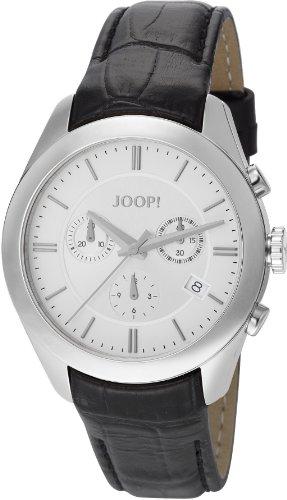 Joop - JP101042S04 - Aspire Swiss Made - Montre Mixte - Quartz Chronographe - Cadran Argent - Bracelet Cuir Noir