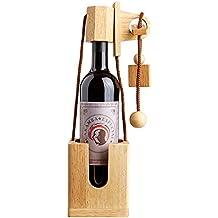 Rompicapo da Bottiglia in Legno Chiaro Pregiato - Confezione Regalo per Bottiglie di Vino - Gioco di Pazienza - Rompicapo - Gioco di Abilità