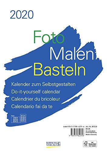 Foto-Malen-Basteln Bastelkalender A4 weiß 2020: Fotokalender zum Selbstgestalten. Aufstellbarer do-it-yourself Kalender mit festem Fotokarton.