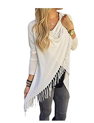 Blazer cardigan Femmes à manches longues Fashion Cover Up Tassel Kimono Cardigans Outwear Tops Shirt Blanc