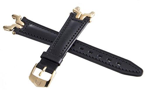 Tag Heuer SEL, Schwarz, Leder gold-Schnalle Uhrenarmband, 18mm