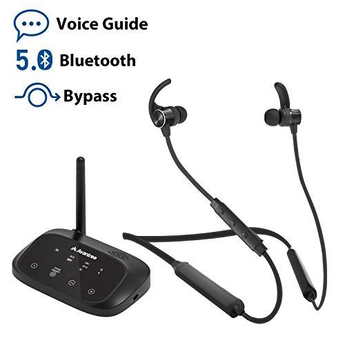 Avantree HT5006 kabellose Kopfhörer Ohrhörer zum Fernsehen, Nackenband Ohrhörer-Hörset mit Bluetooth-Transmitter für Optical, RCA, 3,5mm Anschluss für Fernseher, Plug&Play, Keine Tonverzögerungen