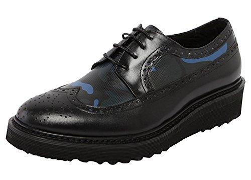 Riancess Mocassins homme Semell epais Chaussures de ville Cuir supérieur Fourrur de cheval Chaussures de ville Bleu