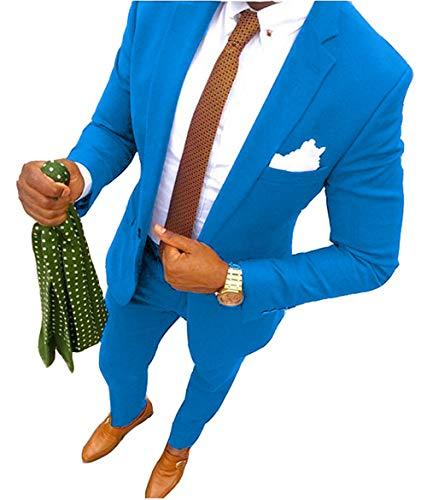 YSMO Herren 2 Stück Anzüge Slim fit Business Anzug Best Man Männlich Mantel