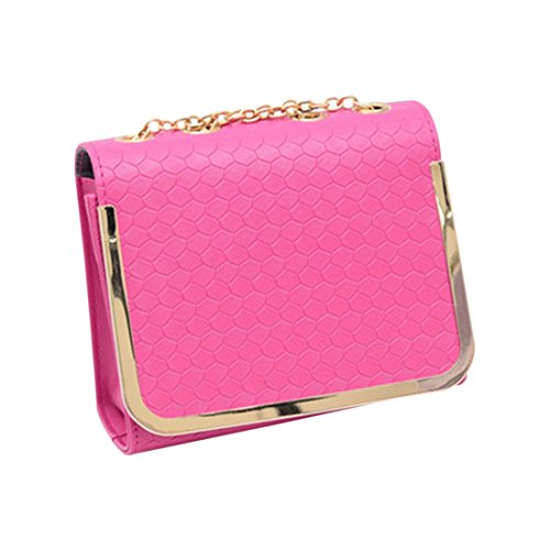 messaggero borsa - SODIAL(R)piccola borsa sacchetto dell'unita' di elaborazione Borse di cuoio del messaggero delle donne una spalla di colore della caramella della borsa epoca moda femminile rosa Rose Red