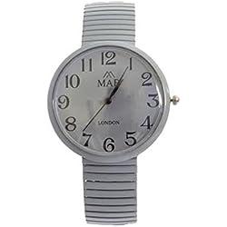 Unisex Grey Coloured Expandable MAB Designer Fashion Metal Watch Round Expander Bracelet Extra Battery