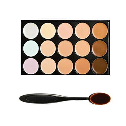 Boolavard® TM 15 Farbtöne Farbe Concealer Make-up Palette Kit Make Up Set mit Kosmetika Oval Make-up Pinsel -