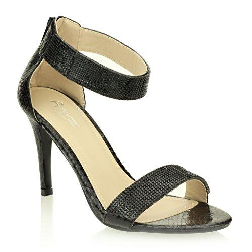 Frau Damen Abend Hochzeit Party Hoch Ferse Open Toe Diamant Braut Sandale Schuhe Größe (Gold, Schwarz, Champagne, Silber) Schwarz
