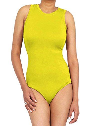 LessThanTenQuid Damen Top, Einfarbig Gelb