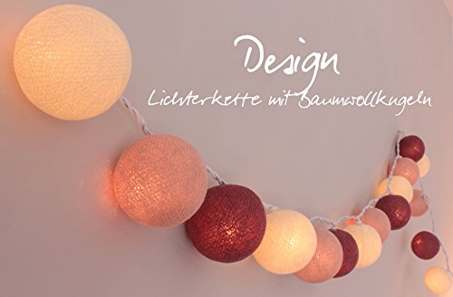 LED - Lichterkette mit 35 Kugeln aus Baumwolle 'Rosengarten' - Cotton Ball Lights, innen -