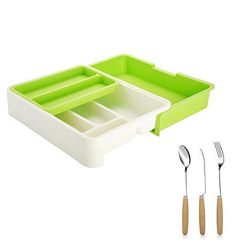 Edelstahl Schublade Zieht (z-life verstellbar Kunststoff Besteckkasten mit Fächer und Besteck Set, Breite: 24bis 40cm, Schubladeneinsatz, grün.)