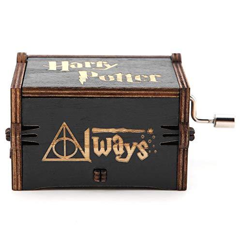 Akozon Caja de Música de Manivela de Madera, Mecánico Artesanal Clásico Regalo de Cumpleaños Navidad Los Reyes Magos(Harry Potter)