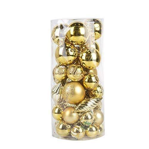 42 pezzi elegante assortiti albero di natale bagattelle decorazione set - dorato