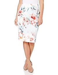 Roman Originals Womens Rose Floral Printed Skirt - Ladies Bodycon Pencil Knee Length Occasion Work Skirts - Pink Blue