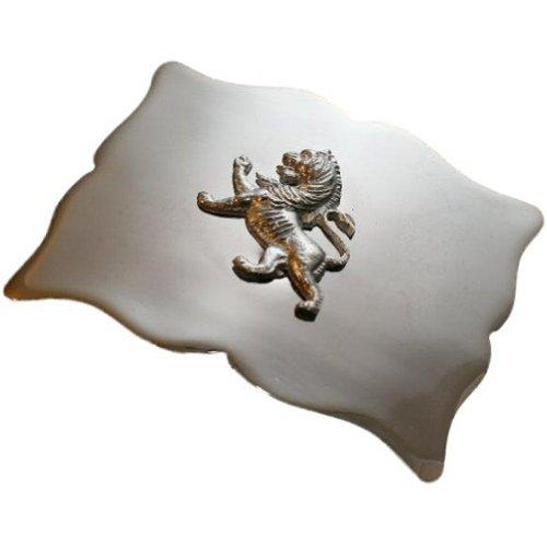 """Hebilla de cinturón para kilt escocés Hebilla de cinturón escocesa Hebilla con acabado de cromo Medidas aproximadas 10,1 x 7,6 cm (4"""" x 3"""") Gancho en la parte posterior para sujetarlo al cinturón del kilt Advertencia: esta hebilla es sol..."""