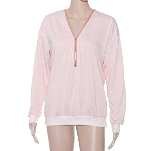 Kolylong® Frauen tiefer V-T-Shirt Figurbetontes Zipper Lose Pullover Pink