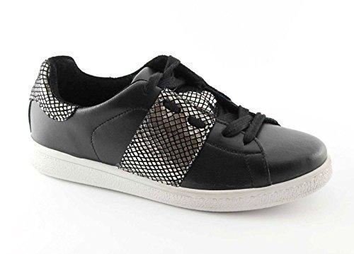 FOLLIE DIVINE 13000 noir canon fusil chaussures de sport baskets lacets Nero