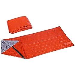 Sacos de Dormir de Emergencia Plegable Impermeable Ultraligero contra Viento para Supervivencia Camping Excursiones Viajes Aire Libre