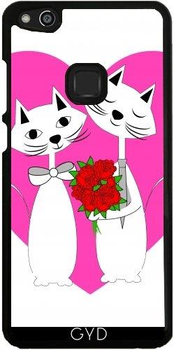 Hülle für Huawei P10 Lite - Valentines Herzen Niedlichen Katzen by Blingiton (C Artoon)