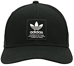 Adidas Mens Originals Trefoil Patch Snapback Baseball Cap, Black/Chalk White, One Size