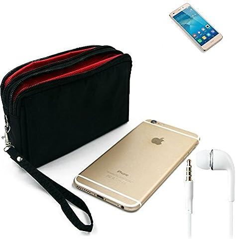 TOP SET: Belt Pack pour Huawei GT3, noir + Écouteurs. Sac de Voyage, couverture protection body bag Étui housse ceinture pour camping outdoor - K-S-Trade