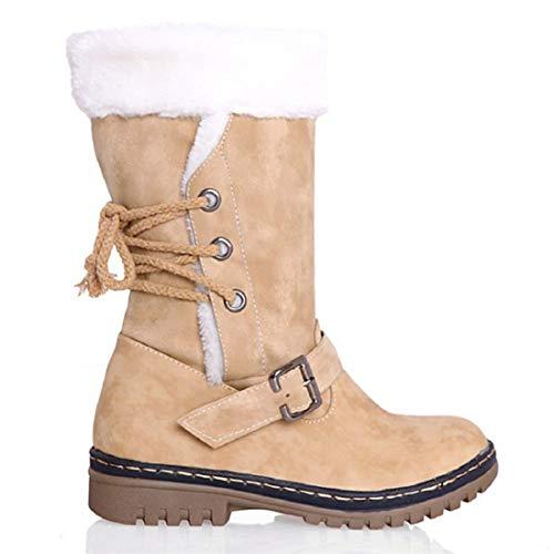 Zapatos Invierno Mujer Botas de Nieve Calzado Caño Calentar Planas Casual Outdoor Aire Libre y Deportes Sneakers Amarillo 37