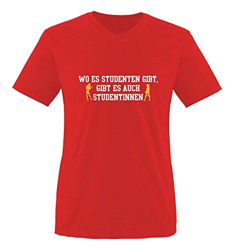 Comedy Shirts - Wo es Studenten gibt, gibt es auch Studentinnen. - Herren V-Neck T-Shirt - Rot/Weiss-Gelb Gr. XXL