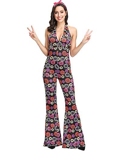 Männlich Kostüm Abba - Herren 70er Jahre Typ Kostüm, Oberteil und Hose/Damen 70er Dancing Queen Kostüm, Nackenträger Catsuit,Damen(Jumpsuit),XL