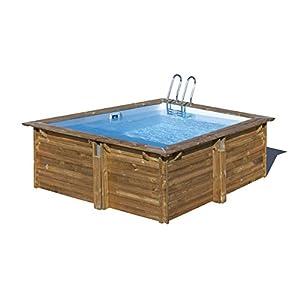 Gre 790093 Piscina con bordi Piscina quadrata Blu, Legno piscina fuori terra