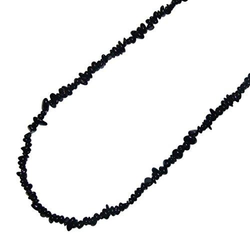 Turmalin schwarz Schörl Splitter Kette 90 cm endlos ohne Verschluss.(3467)
