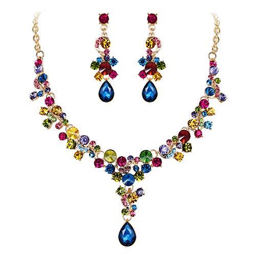 Flyonce Strass Kristall Hochzeit Floral Teardrop Halskette Ohrringe Set Multicolor Gold-Ton