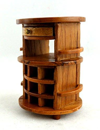 Miniatura Per Casa Delle Bambole 1:12 Mobili Pecan Legno Rotondo Bevande Vino Da Portata Tavolo