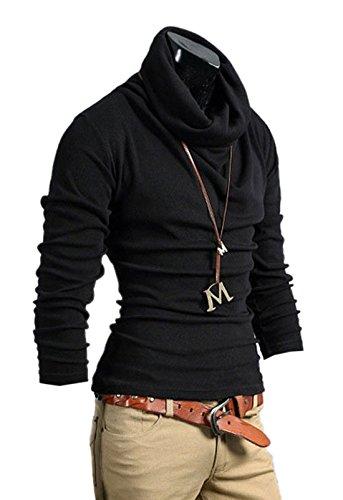 Aulei Herren T-Shirt Slim Fit Bluse Tops Rollkragen Hemd Langarm Baumwolle Bodenbildung Shirt Schwarz