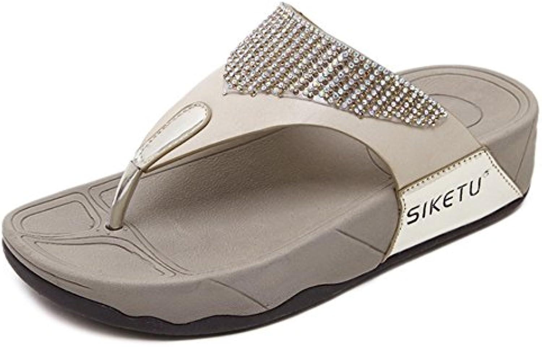 Chanclas Y Sandalias De Las Mujeres del Verano Sandalias De Tacón De Diamantes De Imitación Casuales Zapatos De...