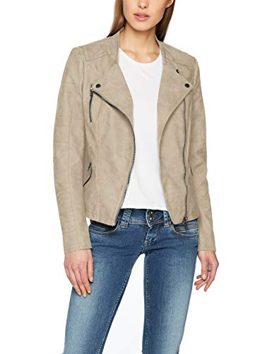 Only onlAVA FAUX LEATHER BIKER OTW NOOS - Chaqueta para mujer, Beige (Pure Cashmere Pure Cashmere), 38