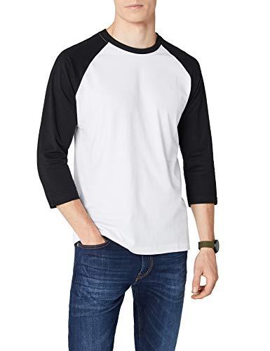 Urban Classics TB366 Herren 3/4 Sleeve Bekleidung T-Shirt, mehrfarbig (Wht/Blk), M -