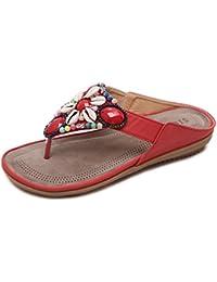 8a47f82f0e13 BELLOO Women Summer Bohemia Flip Flops Sandals Post Thong T-Bar Flat Shoes  with Rhinestone