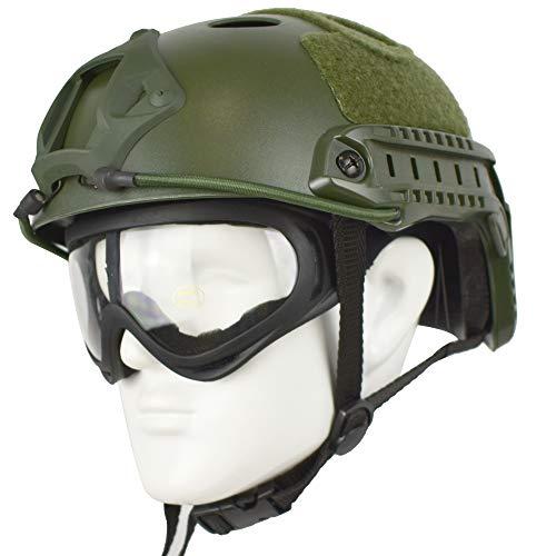 QHIU Casco tattico Camouflage PJ Multifunzionale Protezione Caschi per Softair Paintball Moto Sport all'Aria Aperta con Occhiali (OD-1)