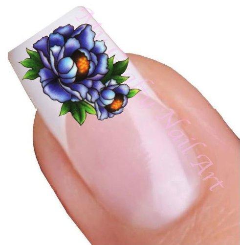 Fleur bleu pour ongles décalques à l'eau - Transfert Décalque à l'eau, tatoo