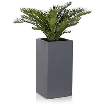 pot de fleurs fibre de verre torre gris mat decoras jardin